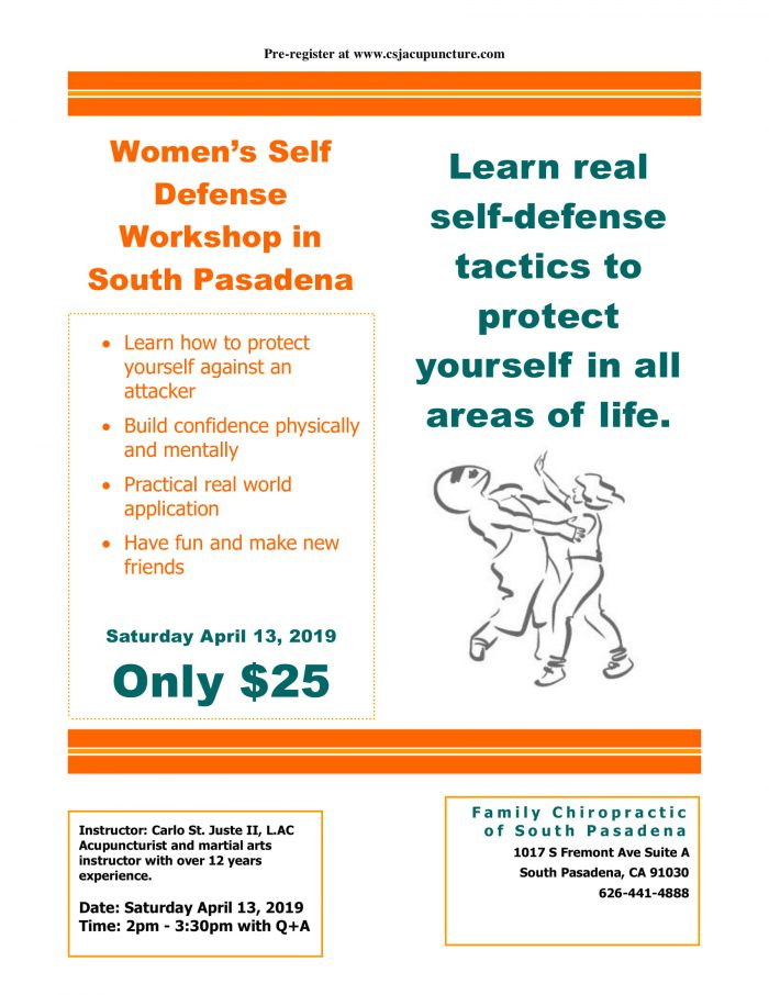 women's self defense workshop in South Pasadena
